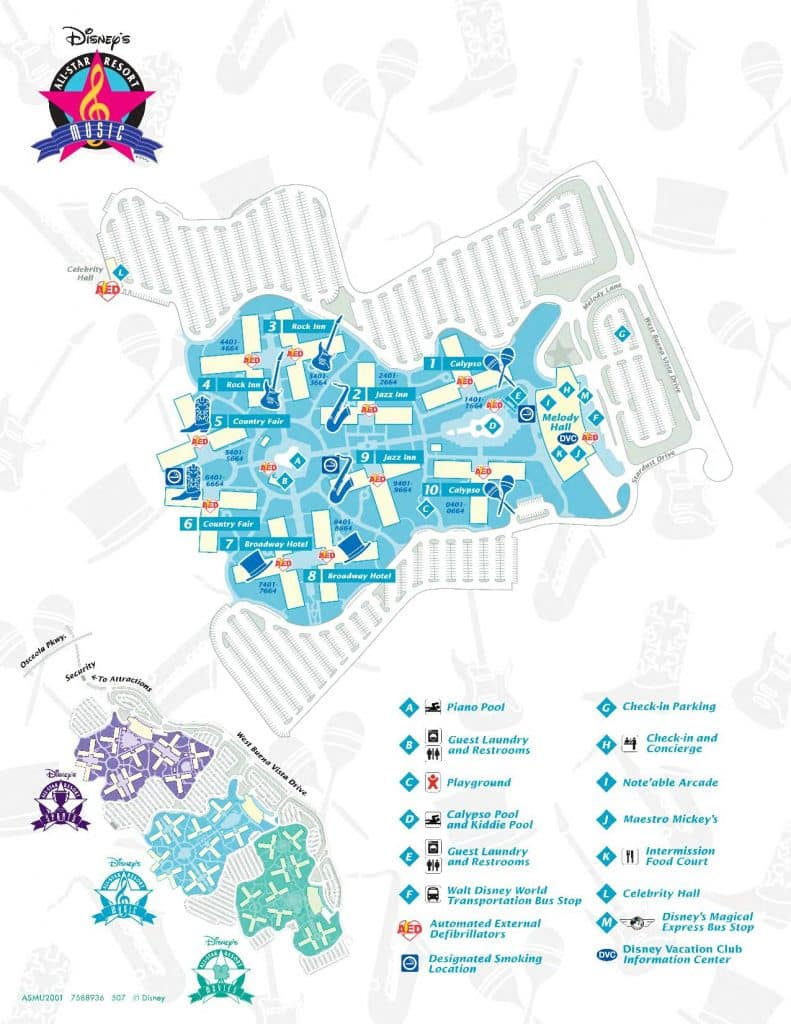Overhead property map of the All Star Music Resort | All Star Music features 1,604 rooms in the Disney's Animal Kingdom Resort Area