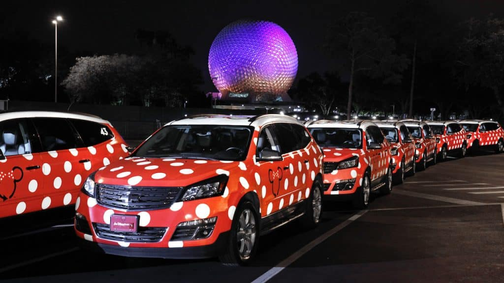 Disney Minnie Vans outside Epcot | Minnie Vans are Disney themed vehicles operated under the Lyft ride share app