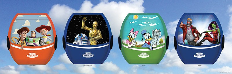 Disney Skyliner Character Cars include Woody, Buzz, & Jessie, R2D2 & C3PO, Daisy & Donald Duck, and Starlord & Gamora | Concept Art