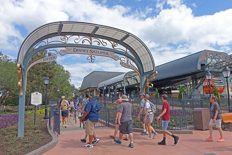 The Disney Skyliner Entrance & Exit at Epcot's International Gateway | Servicing Epcot, Swan & Dolphin, Yacht & Beach Club, and Boardwalk Resorts