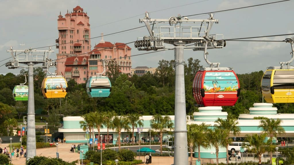 Walt Disney World Skyliner | Guests move in gondolas to and from Hollywood Studios
