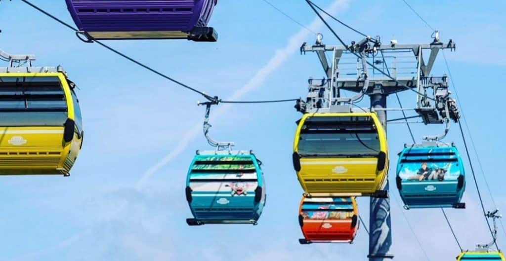 Disney Skyliner Cars fly at a maximum of 60 feet in the air and 11 mph