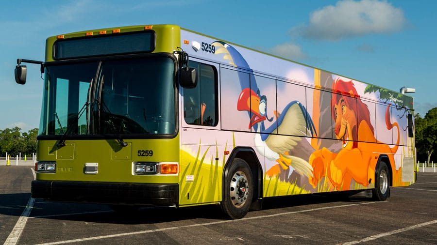 Walt Disney World Bus outfitted with the Lion King livery