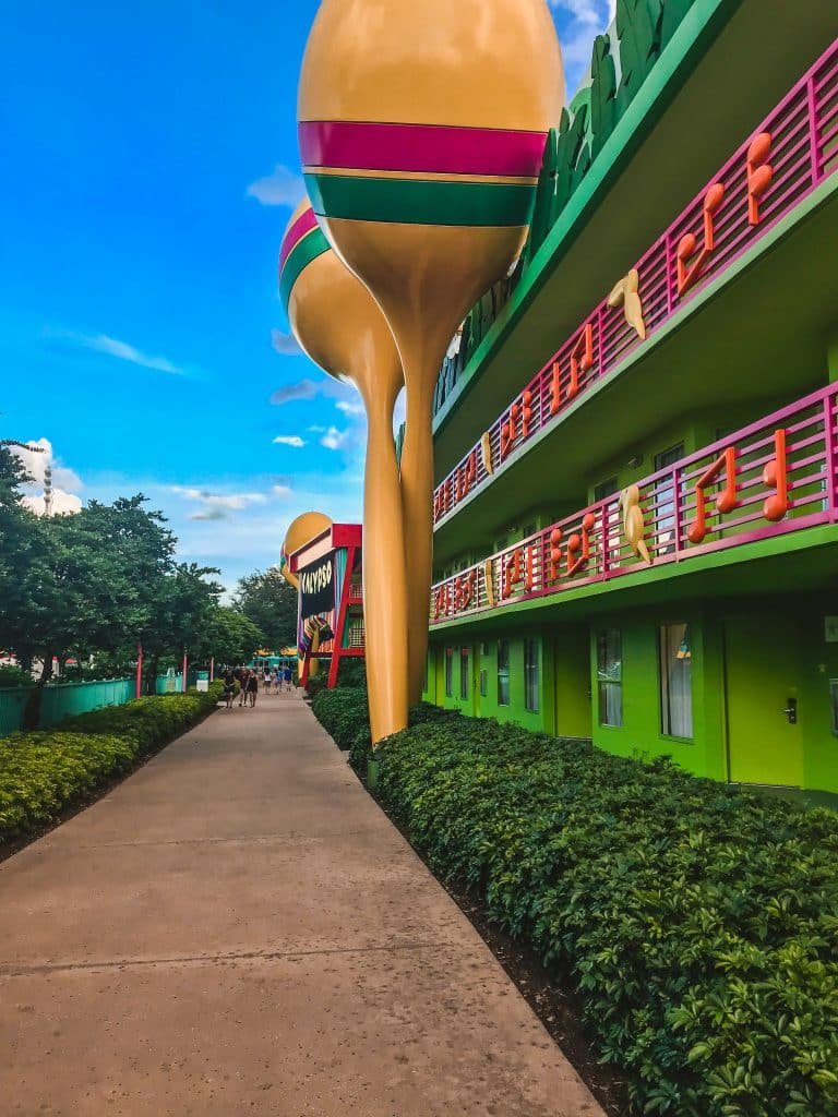 The front of the Calypso building at All Star Music Resort featuring maracas and a xylophone