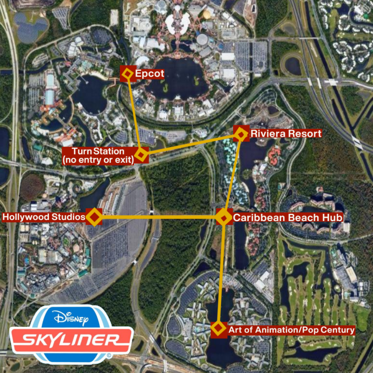 Disney Skyliner Map with Station Locations