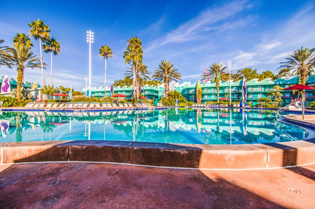 Surf's Up is located directly behind Stadium Hall and features Surfboard Bay pool between the two guest buildings