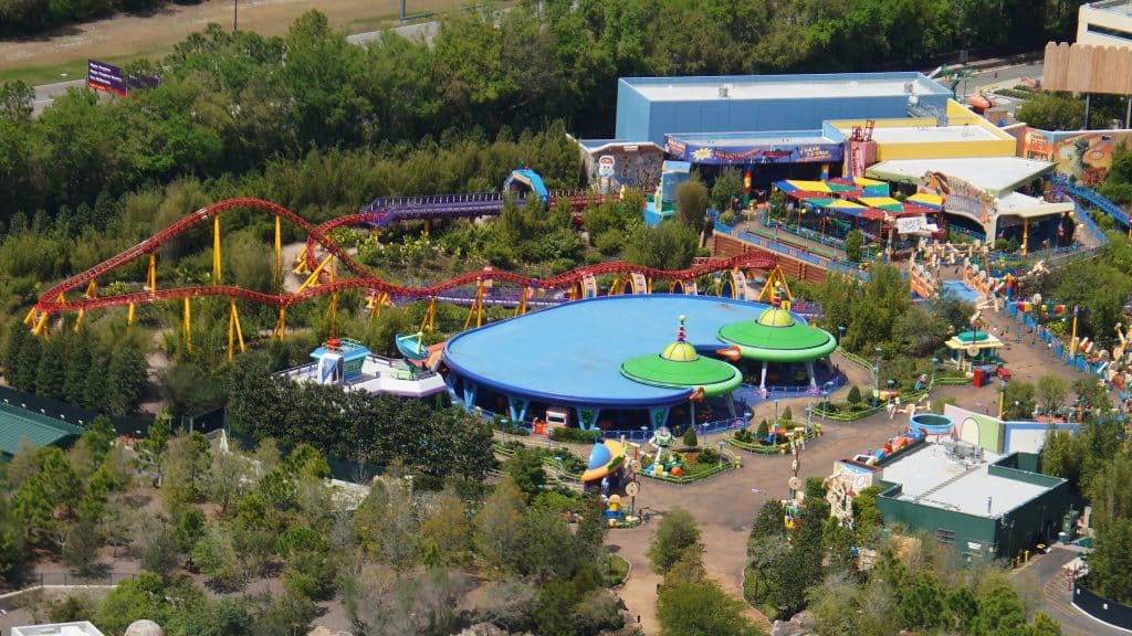 Toy Story Land seen from above during the COVID-19 shutdown