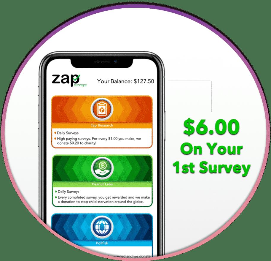Zap Surveys Screenshot | Save money for a cheap Disney vacation by using Zap Surveys