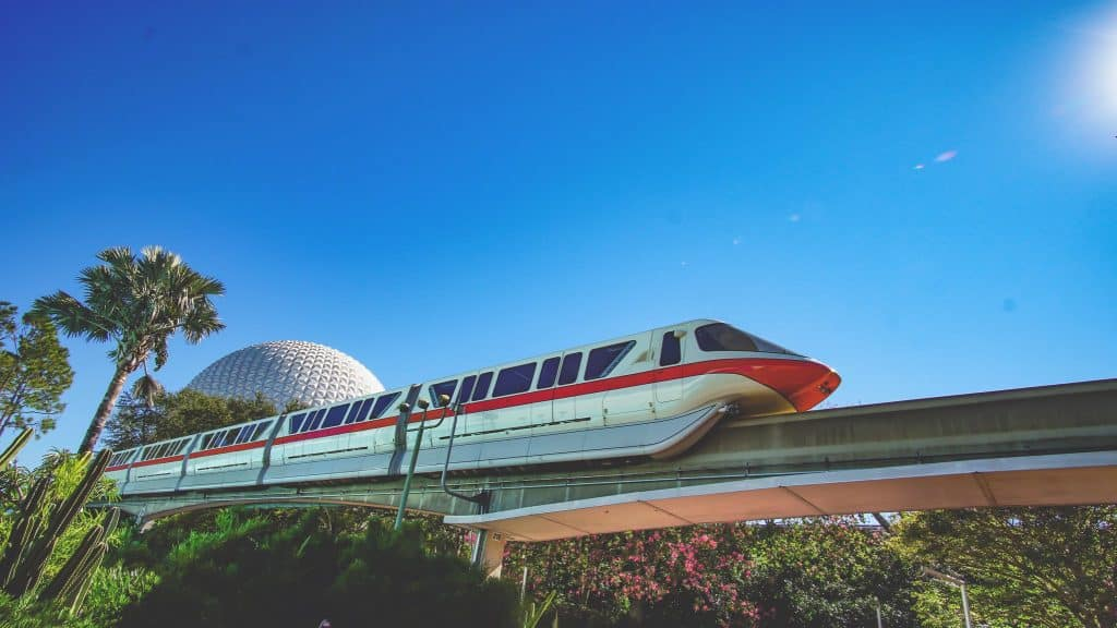 Walt Disney World Monorail passing through Epcot