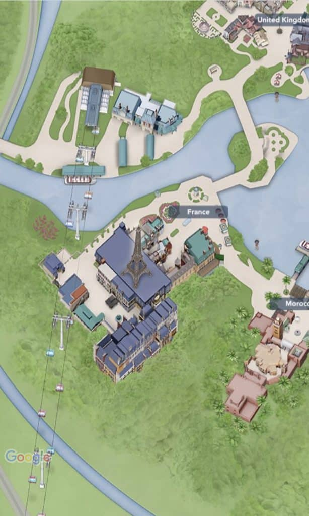 My Disney Experience Map of the France Pavilion at Epcot. This includes the Remy's Ratatouille Adventure ride building