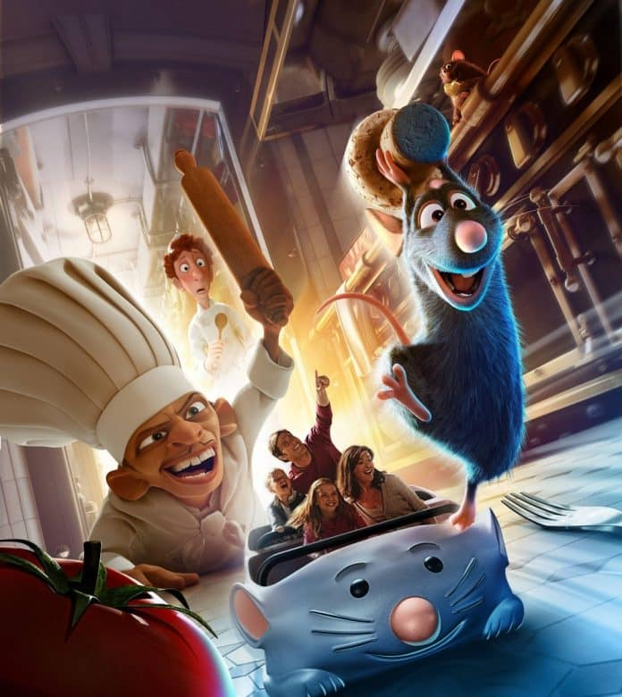 Ride concept art for Remy's Ratatouille Adventure showing Chef Skinner chasing Remy with a rolling pin