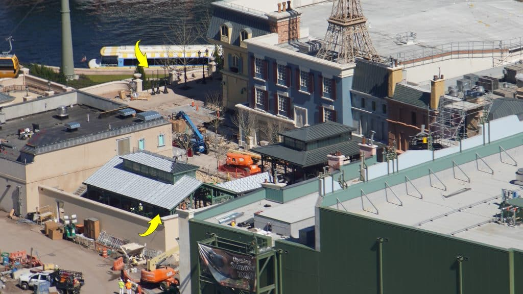 Aerial view of Remy's Ratatouille Adventure showing new metal roofing over the queue area