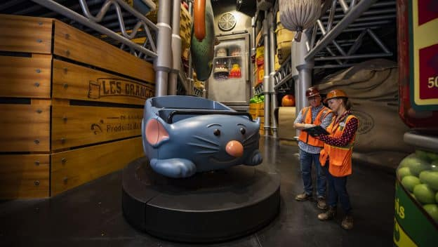 Remy's Ratatouille Adventure car with Walt Disney World imagineers