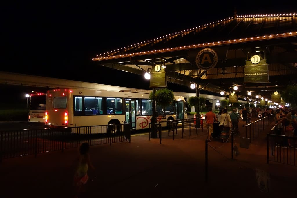 Crowds of People Trying to Get on the buses at Disney's Magic Kingdom