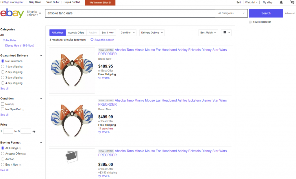 Limited Edition Ahsoka Tano Ears for Sale on Ebay by bot shoppers