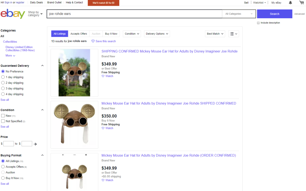 Limited Edition Joe Rohde Ears for sale on Ebay by bot shoppers