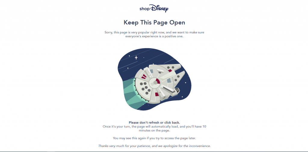 ShopDisney error message on May the Fourth, 2020