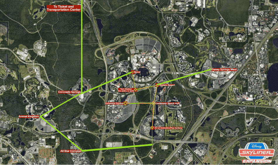 Our Projected Disney Skyliner Expansion Map Showing current lines and possible future lines