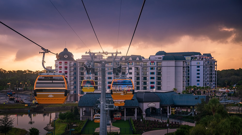 Disney's Riviera Resort as seen aboard the Disney Skyliner Epcot Route
